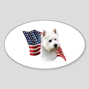 Westie Flag Oval Sticker