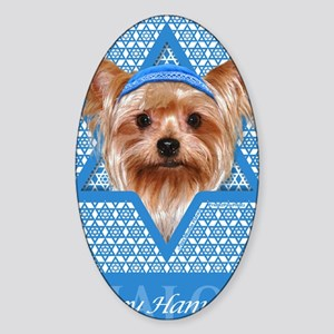 Hanukkah - Yorkie Sticker (Oval)