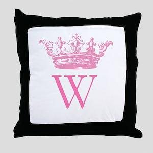 Vintage Crown Monogram Throw Pillow