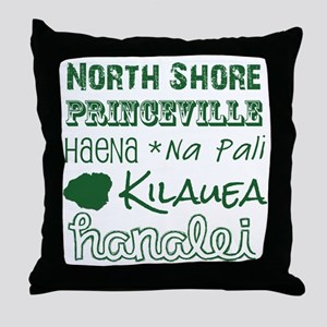 North Shore Kauai Subway Art Throw Pillow