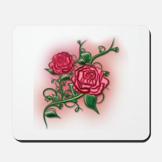 Pink Rose Vine Mousepad