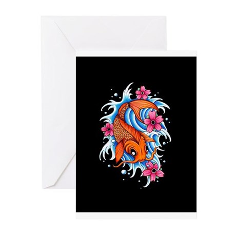 Koi Tattoo Design Greeting Cards (Pk of 10)