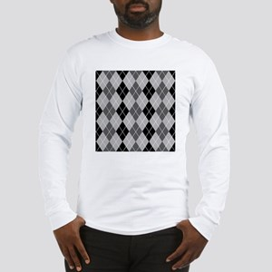 Black and Grays Argyle Long Sleeve T-Shirt