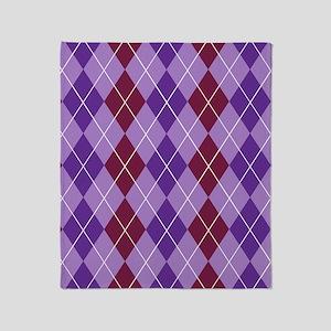 Maroon and Purple Argyle Throw Blanket