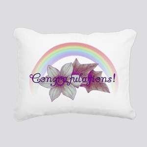 Rainbow Marriage Congrat Rectangular Canvas Pillow