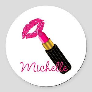 Hot Pink Lips n Lipstick Name Round Car Magnet