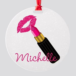 Hot Pink Lips n Lipstick Name Round Ornament