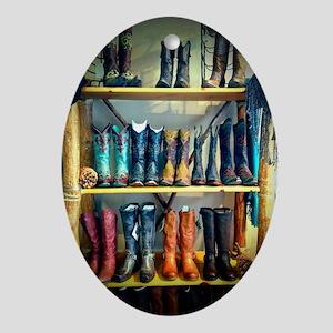 Cowboy Boots Oval Ornament