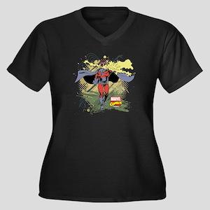 Magneto Women's Plus Size V-Neck Dark T-Shirt