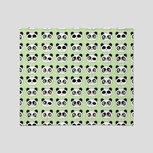 Cute Panda Expressions Pattern Throw Blanket