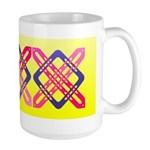 Celtic Knot - Pink X on Blue Square Large Mug