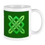 Celtic Knot - Green X on Green Square Mug