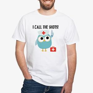 Owl Nurse White T-Shirt