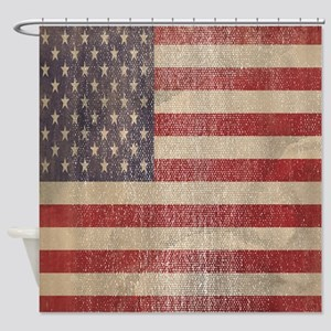 Worn and Vintage American flag Shower Curtain