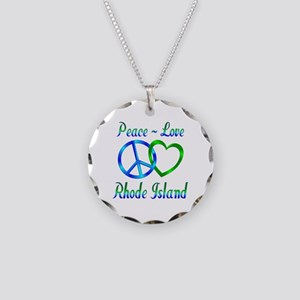 Peace Love Rhode Island Necklace Circle Charm