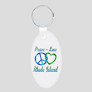Peace Love Rhode Island Aluminum Oval Keychain