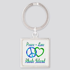 Peace Love Rhode Island Square Keychain