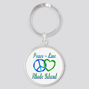 Peace Love Rhode Island Round Keychain