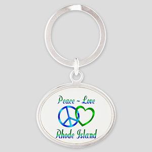 Peace Love Rhode Island Oval Keychain