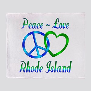 Peace Love Rhode Island Throw Blanket