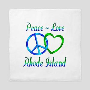 Peace Love Rhode Island Queen Duvet