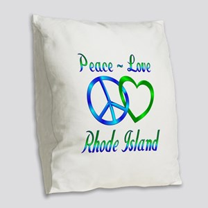 Peace Love Rhode Island Burlap Throw Pillow