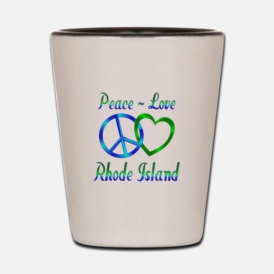 Peace Love Rhode Island Shot Glass