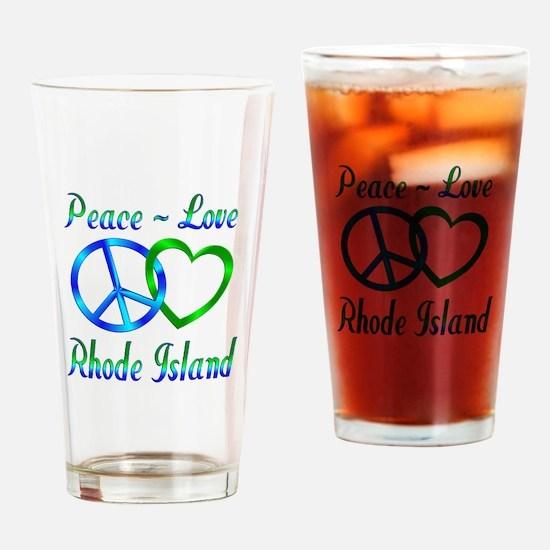 Peace Love Rhode Island Drinking Glass