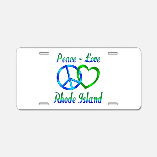 Peace Love Rhode Island Aluminum License Plate