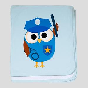 Owl Police Officer baby blanket