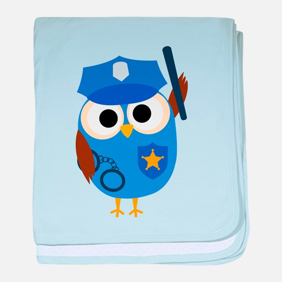 Owl Police Officer baby blanket