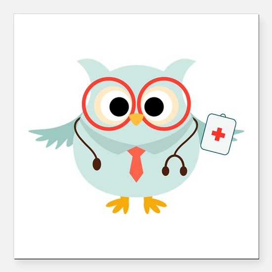 "Owl Doctor Square Car Magnet 3"" x 3"""