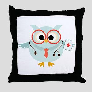 Owl Doctor Throw Pillow