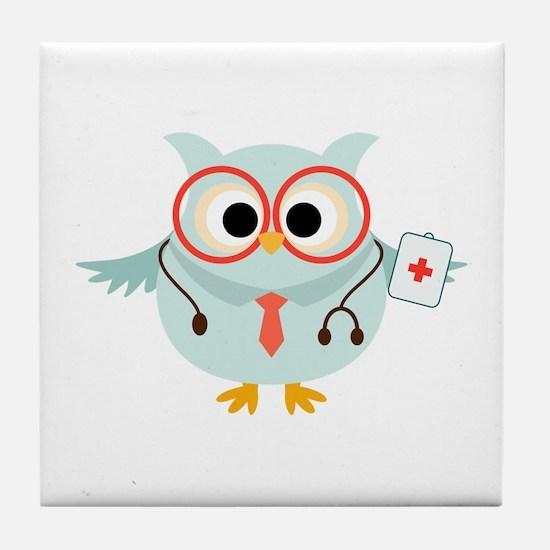 Owl Doctor Tile Coaster