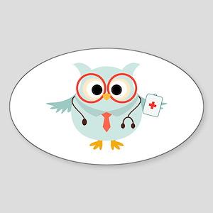 Owl Doctor Sticker (Oval)