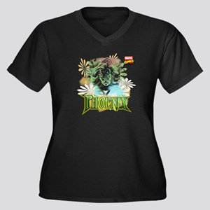 Phoenix Women's Plus Size V-Neck Dark T-Shirt
