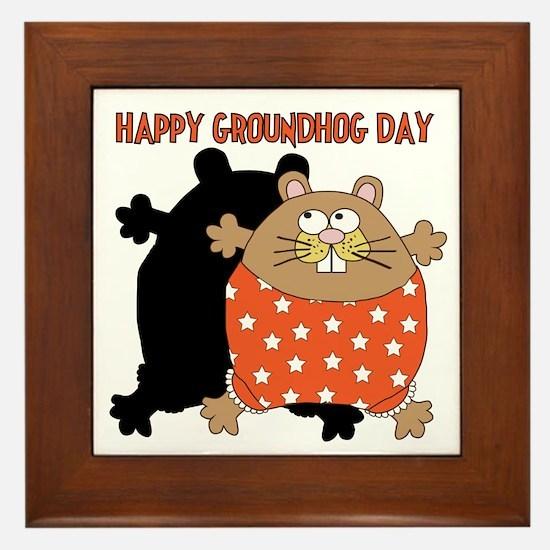 Happy Groundhog Day Framed Tile