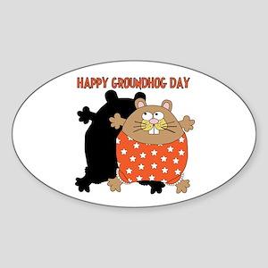 Happy Groundhog Day Sticker (Oval)