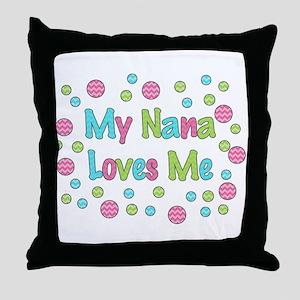 My Nana Loves Me Girl Design Throw Pillow