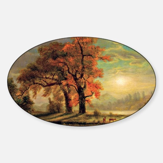 Bierstadt - Sunset Scene with Deer Sticker (Oval)