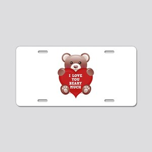 I Love You Beary Much Aluminum License Plate