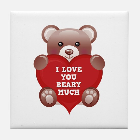 I Love You Beary Much Tile Coaster