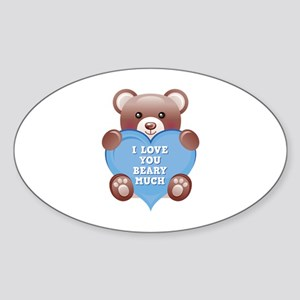 I Love You Beary Much Sticker (Oval)