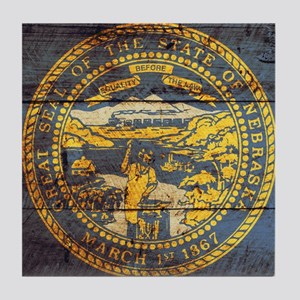 Wooden Nebraska Flag3 Tile Coaster