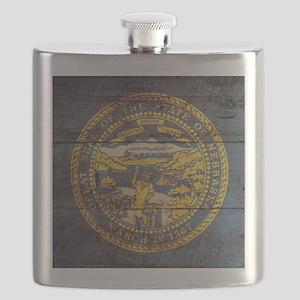 Wooden Nebraska Flag3 Flask