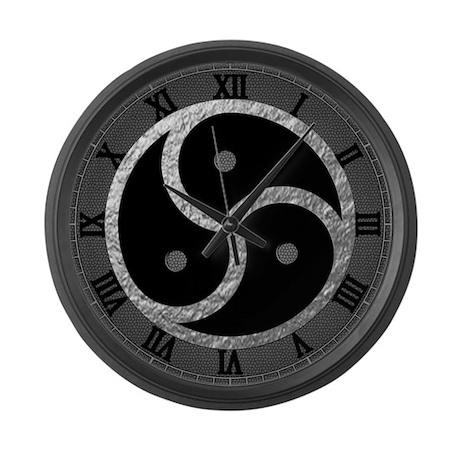 Silver BDSM EMBLEM - SYMBOL Large Wall Clock