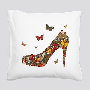 Butterflies and Heels Square Canvas Pillow