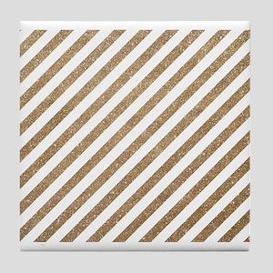 Gold White Diagonal Stripe Glitter Tile Coaster