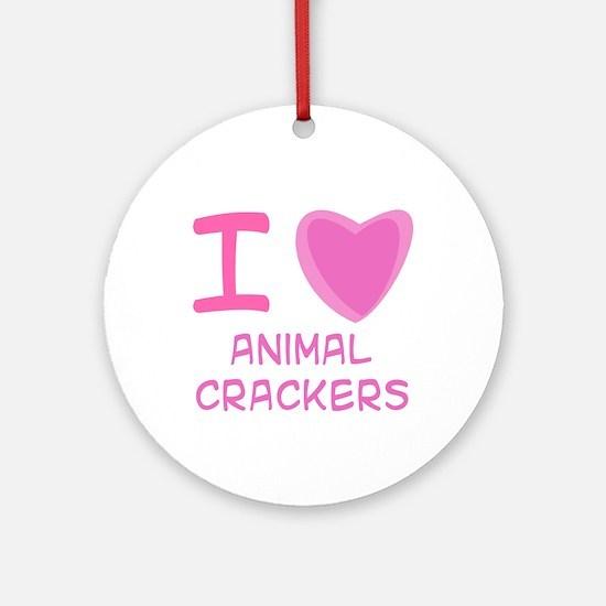 Pink I Heart (Love) Animal Crackers Ornament (Roun