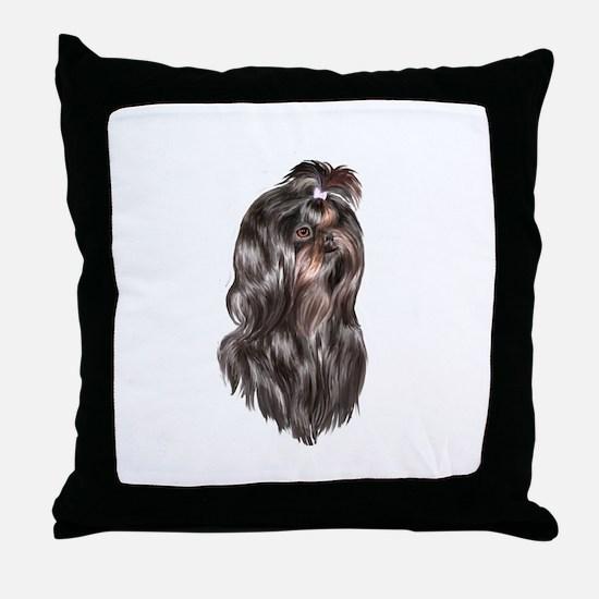 Shih Tzu (blk Portr)-JTD Throw Pillow